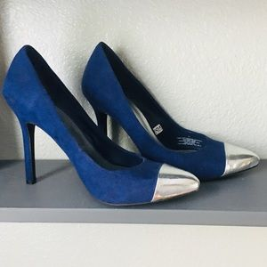 Blue and silver - suede high heels 👠